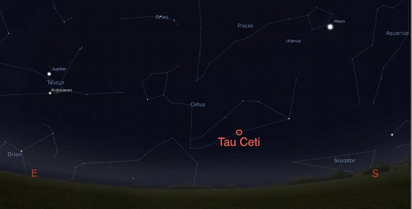 Image generated by Stellarium software showing Tau Ceti in the constellation of Cetus on from Hatfield, UK
