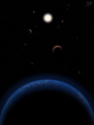 Artist's impression of the Tau Ceti system