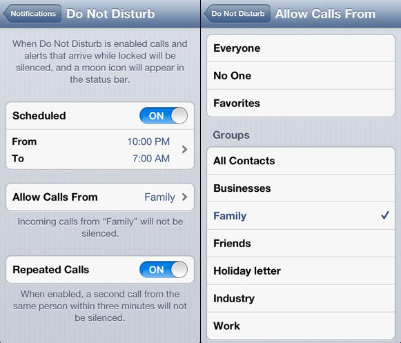 Apple iOS 6 'Do Not Disturb' feature screenshot