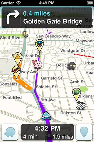 A screenshot of Waze mapping app, credit Waze
