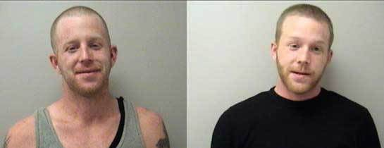 Aric Hale (L) and Sean Hale (R) pose for Manchester Police Department mugshots