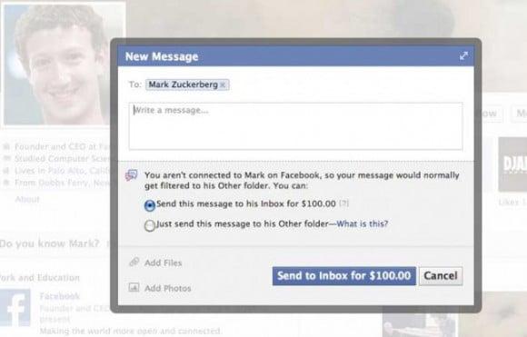Screenshot showing dialog box requesting a $100 fee to message Mark Zuckerberg