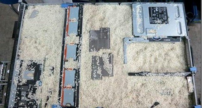 Using rice to dry out a flooded server