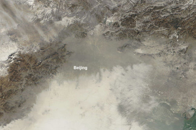 Beijing's 'Airpocalypse' as imaged by the Moderate Resolution Imaging Spectroradiometer (MODIS) on NASA's Terra satellite – January 14
