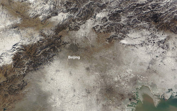Beijing's 'Airpocalypse' as imaged by the Moderate Resolution Imaging Spectroradiometer (MODIS) on NASA's Terra satellite – January 3