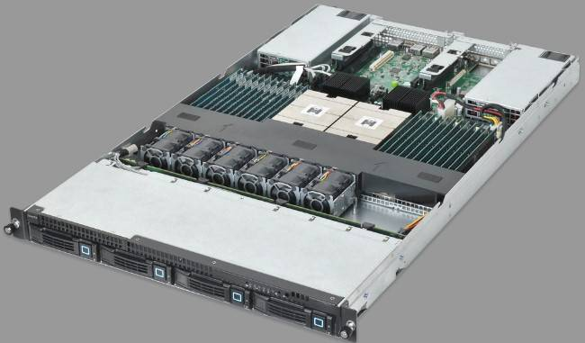 A 1U rack server from Quanta using the Roadrunner Opteron motherboard