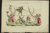 French cartoon, 1790: devil disguised as man walking tightrope