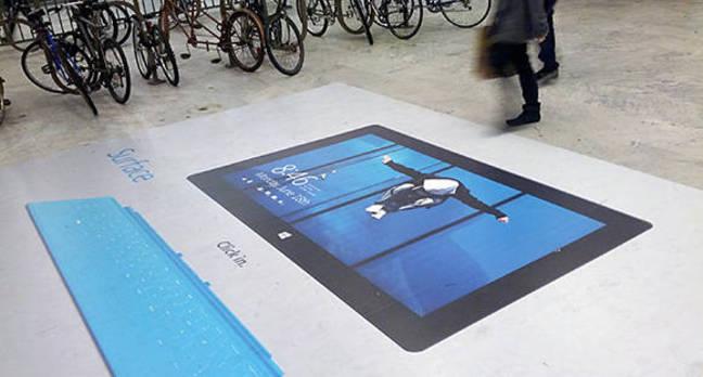 Photo of billboard marketing Microsoft Surface with Windows RT