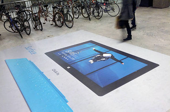 Photo of billboard marketing Microsoft Surface with Windows RT