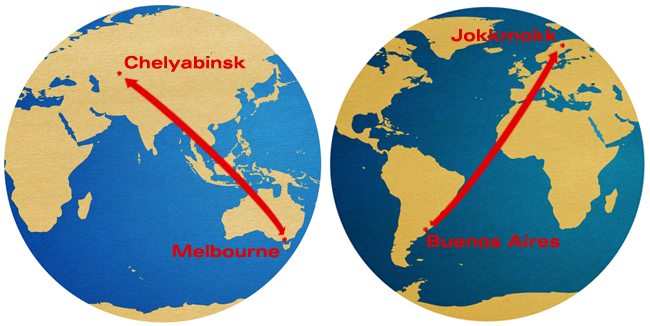 Two Earth hemispheres showing lines between Chelyabinsk, Russia and Melbourne, Australia, and Jokkmokk in northern Sweden to Buenos Aires