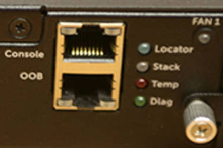 Index picture of the OOB and Console port of a Dell switch