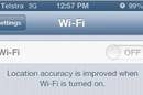 A screengrab of greyed-out wifi button on iOS6, credit Jong186 on Apple forums