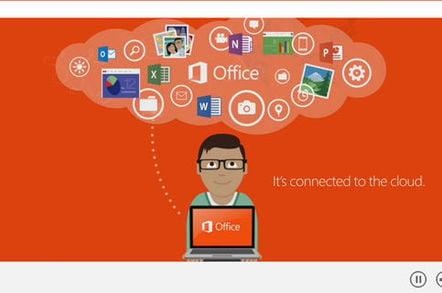 Screenshot of Microsoft promotional video touting Office 2013's cloud integration