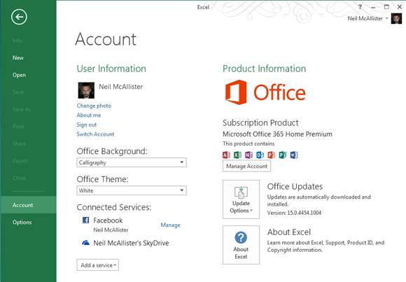 Screenshot of Excel for Office 365 showing product activation info