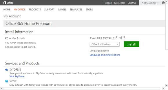 Screenshot of Office 365 subscription management UI