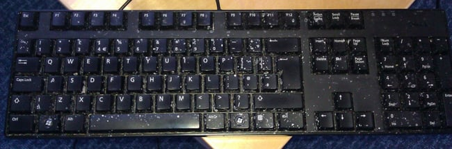 A keyboard spattered with grunge