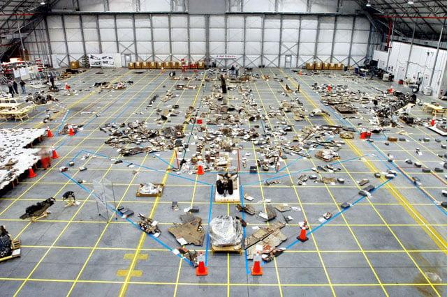 Columbia hangar debris