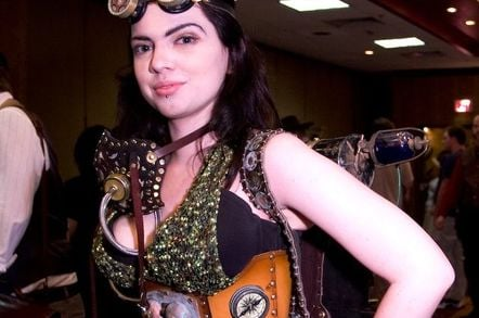 Steampunk fan with goggles