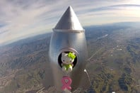 The Hello Kitty in its rocket