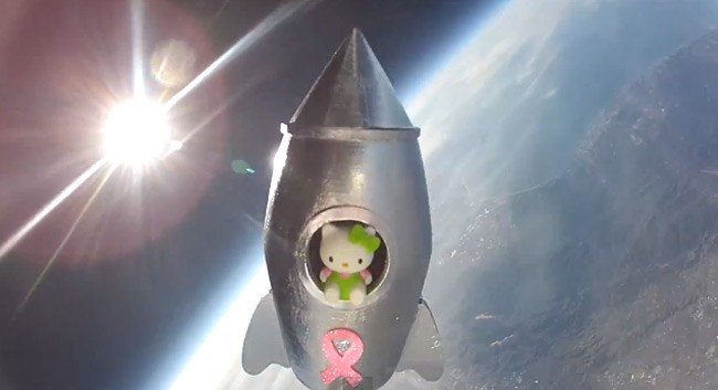 The Hello Kitty high above the Earth with the Sun in the background