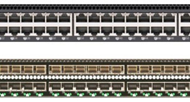 The RackSwitch GS8264T, top, and the RackSwitch GS8264CS, bottom