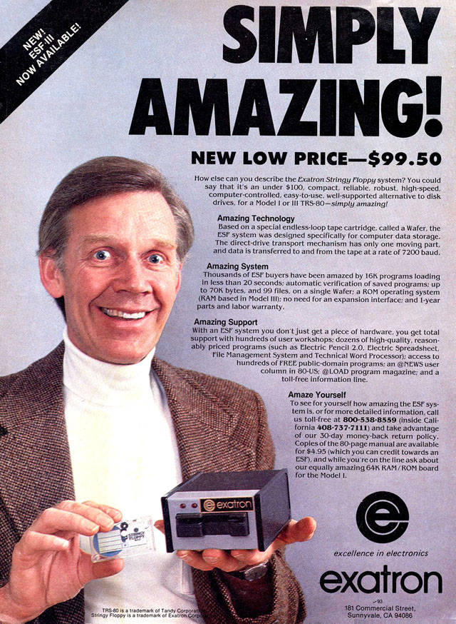 Exatron Stringy Floppy advert