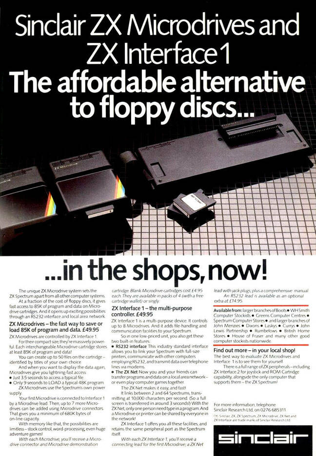 Sinclair ZX Microdrive advert