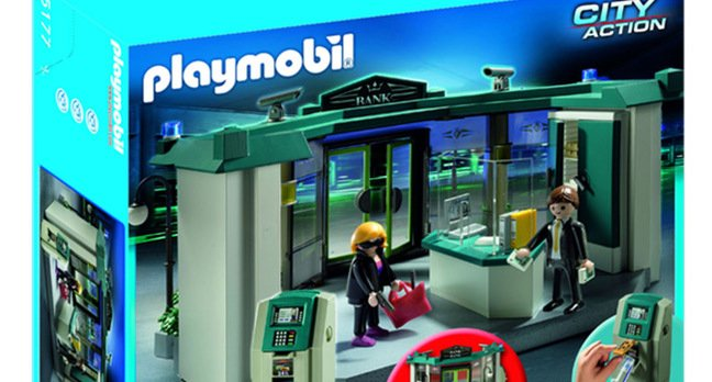 The Playmobil bank set, complete with armed robber