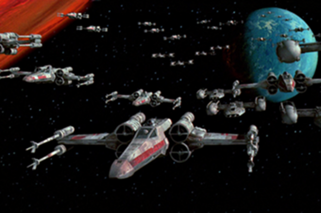 X-wing and Y-wing starfighters of the Rebel Alliance approaching the Death Star
