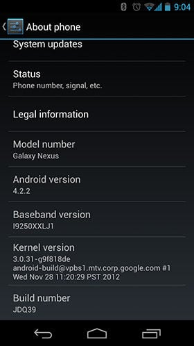 Screenshot showing Android 4.2.2 update completed