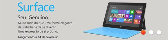 Online ad for Surface RT in Portugal