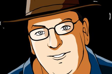 Cartoon of Bill Ray, wearing hat