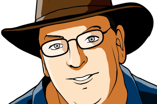 Cartoon of Bill Ray, wearing hat