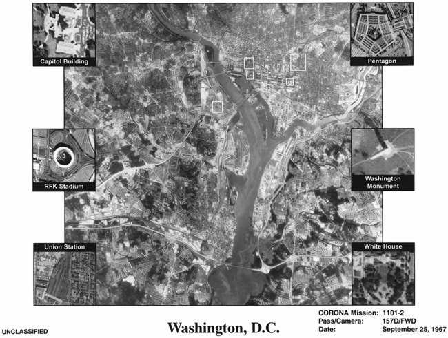 Corona image of Washington DC, with key buildings identified