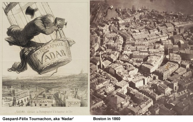 A cartoon of Nadar and the first surviving aerial image, of Boston