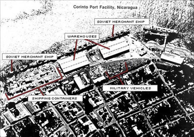 SR-71 image of Corinto, Nicaragua, showing soviet merchant veaasels