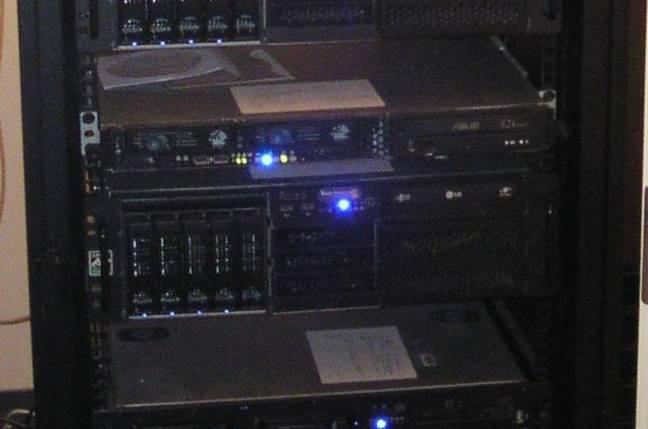 A server rack full of storage nodes
