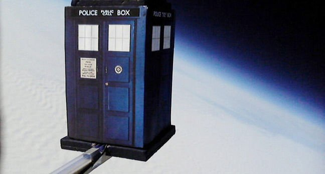The Tardis seen against the curvature of the Earth