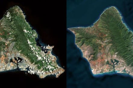 Oahu, Hawaii before and after Maps update