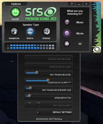 SRS Premium Sound 3D control panel