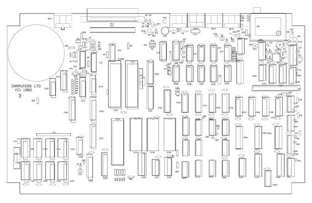 Camputers' Lynx motherboard layout