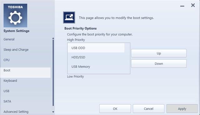 Toshiba Satellite U920T Ultrabook system settings boot options