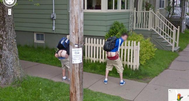 Two lads in Novia Scotia flash their arses on Street View