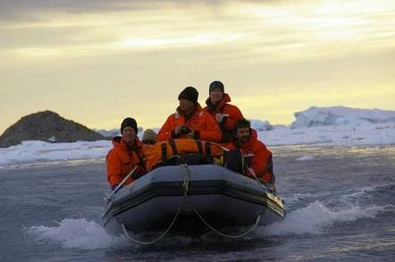 Richard Youd and other Davis Stationeers aboard an IRB. Photo: Graham Oakley