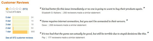 Amazon downloadable SimCity reviews