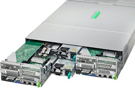 The CX420-S1 squeezing out a server node and a power supply