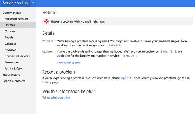 hotmail & outlook outage