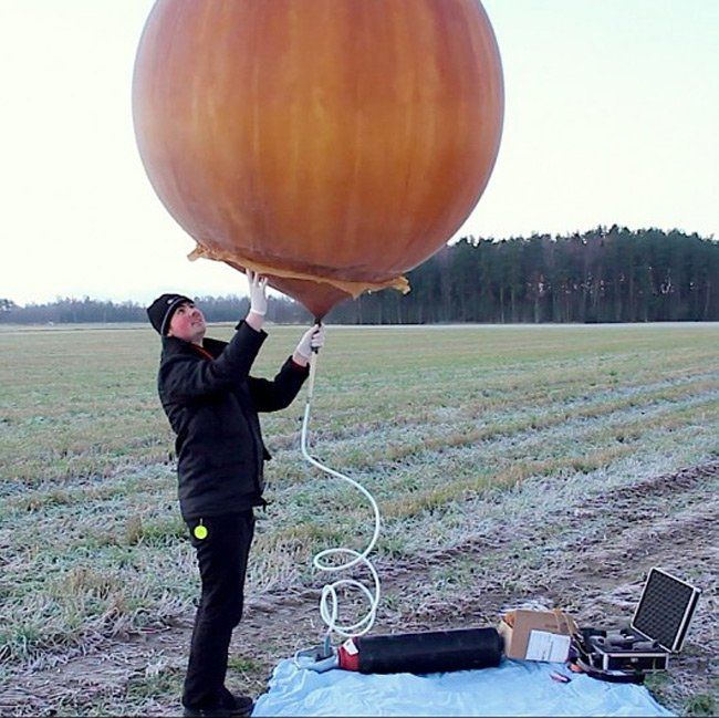 David Windestal and his meteorological balloon. Pic: David Windestal
