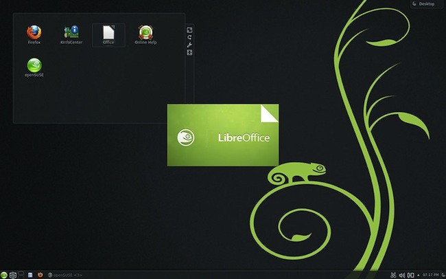 Screenshot of the openSUSE 12.3 desktop showing the LibreOffice banner