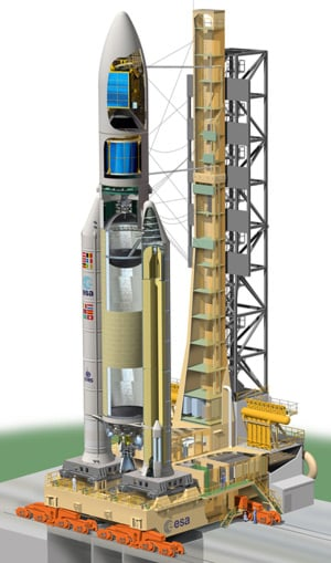 Cutaway view of the Ariane 5 on the launchpad. Pic: ESA